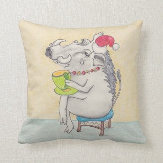 Christmas warthog drinking a cup of tea throw pillow