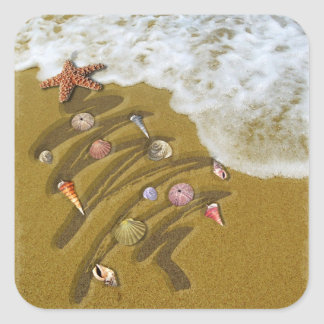 Christmas Washed Up on Shore Square Sticker