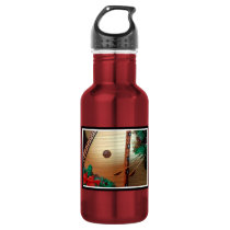 Christmas Water Bottle with Hammer Dulcimer Theme
