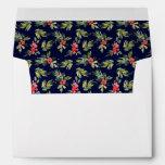 Christmas Watercolor Berries & Pines Pattern Envelope