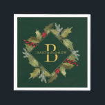 """Christmas Watercolor Big Monogram Holly Wreath Napkin<br><div class=""""desc"""">Hand-painted watercolor holly leaves and bright red berries with pine branches,  winter foliage and big monogram initial on green background. All text and colors can be edited; font choice,  background color and layout can be modified according to style and taste.</div>"""