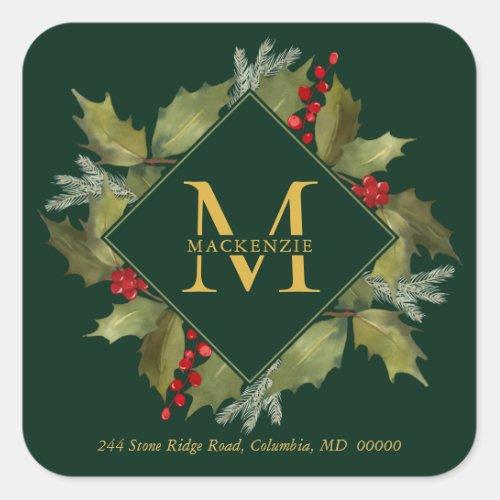 Christmas Watercolor Big Monogram Holly Wreath Square Sticker