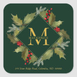 """Christmas Watercolor Big Monogram Holly Wreath Square Sticker<br><div class=""""desc"""">Christmas Return Address Sticker.  Hand-painted watercolor holly leaves and bright red berries with pine branches,  winter foliage and big monogram initial on green background. All text and colors can be edited; font choice,  background color and layout can be modified according to style and taste.</div>"""
