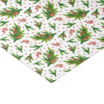 Christmas Watercolor Branches & Berries Pattern Tissue Paper