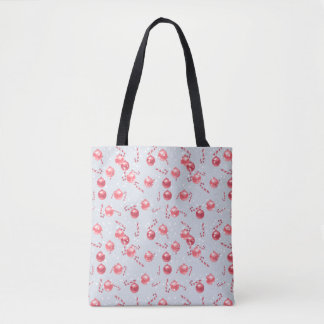 Christmas Watercolor Candy Cane Pattern Tote Bag