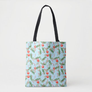 Christmas Watercolor Candy & Pines Pattern Tote Bag