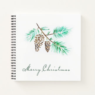 Christmas | Watercolor - Festive Pinecones Quote Notebook
