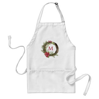 Christmas | Watercolor - Floral Christmas Wreath Adult Apron