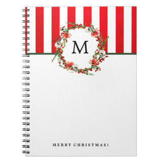 Christmas Watercolor Floral Wreath with Stripes Notebook