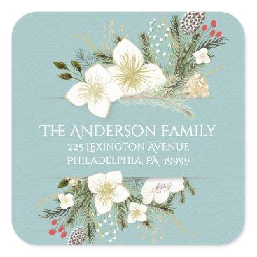 Christmas Themed Christmas Watercolor Flowers Return Address Label