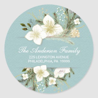Christmas Watercolor Flowers Return Address Label