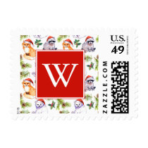 Christmas Watercolor Forest Animals Pattern Postage
