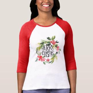 Christmas | Watercolor - Holiday Holly Wreath T-Shirt