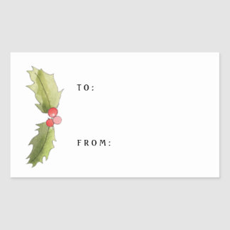 Christmas Watercolor Holly and Berries Gift Tag Rectangular Sticker