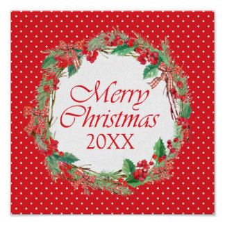 Christmas | Watercolor - Holly & Gingham Bow Wreat Poster