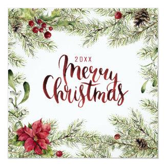 Christmas | Watercolor - Holly & Mistletoe Frame Card