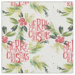 Christmas Watercolor Holly Pattern Fabric