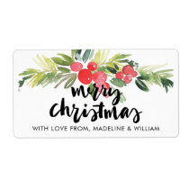 Christmas | Watercolor - Merry Christmas Holly Label