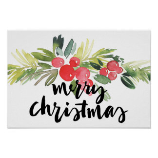 Christmas | Watercolor - Merry Christmas Holly Poster