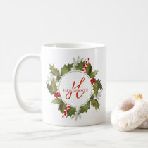 Christmas Watercolor Monogram Script Holly Wreath Coffee Mug
