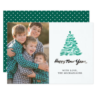 Christmas | Watercolor - New Year Green Tree Card