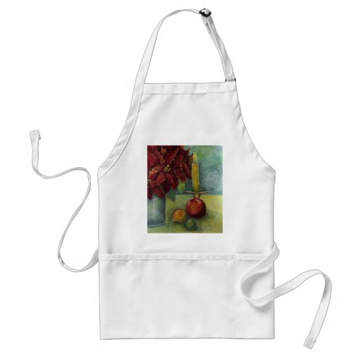 Christmas Watercolor painting poinsettia,candle Aprons