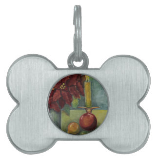 Christmas Watercolor painting poinsettia,candle Pet Tags