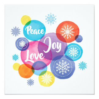 Christmas | Watercolor - Peace Love Joy Quote Card