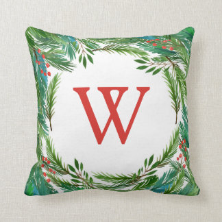 Christmas   Watercolor - Pine & Holly Frame Throw Pillow