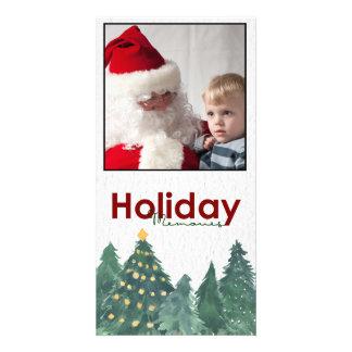 Christmas watercolor Pine trees Photo Card