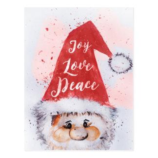 "Christmas watercolor Santa Claus ""Joy Love Peace"" Postcard"