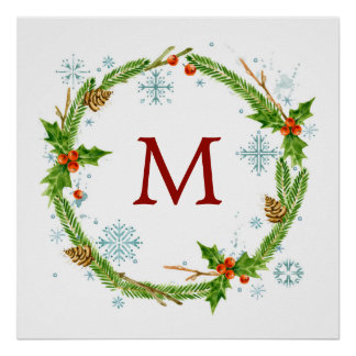 Christmas | Watercolor - Snowflake & Holly Wreath Poster