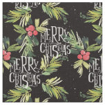Christmas Watercolor Typography Pattern Fabric