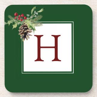 Christmas | Watercolor - Vintage Holly & Pinecone Drink Coaster