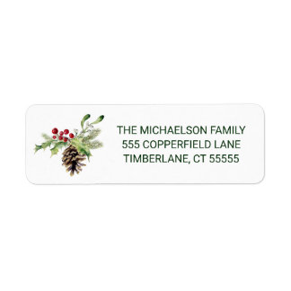 Christmas | Watercolor - Vintage Holly & Pinecone Label