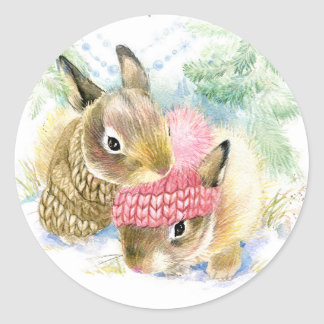 Christmas | Watercolor - Winter Forest Bunnies Classic Round Sticker