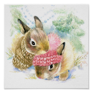 Christmas | Watercolor - Winter Forest Bunnies Poster