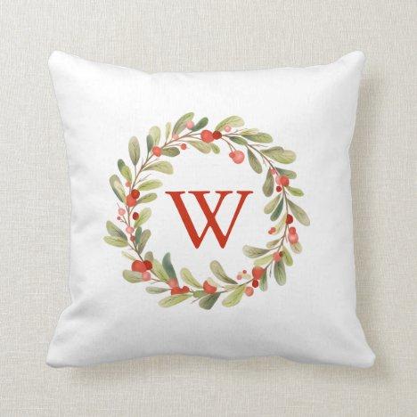 Christmas Watercolor Wreath Monogram Throw Pillow