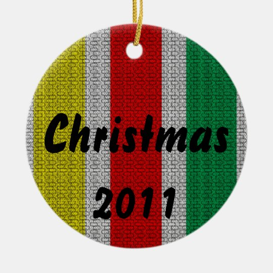 Christmas Weave Ceramic Ornament