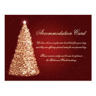 Christmas Wedding Accommodation Gold Red Postcard