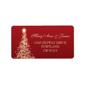 Christmas Wedding Address Red Gold Label