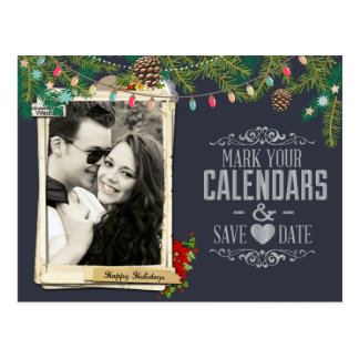Christmas Wedding Chalkboard Save the Date Postcard