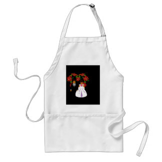 Christmas Wedding Couple I In Black With Heart Adult Apron