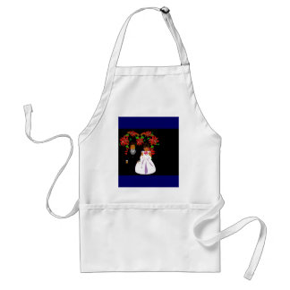 Christmas Wedding Couple I In Navy With Heart Adult Apron