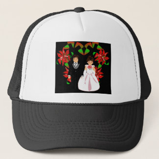 Christmas Wedding Couple In Black Heart Wreath I Trucker Hat