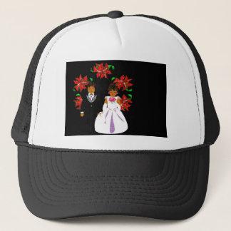 Christmas Wedding Couple In Black Round Wreath Trucker Hat