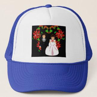Christmas Wedding Couple In Blue Heart Wreath I Trucker Hat