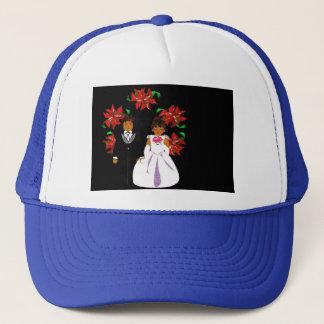 Christmas Wedding Couple In Blue Round Wreath Trucker Hat