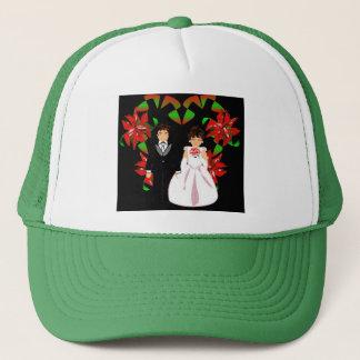 Christmas Wedding Couple In Green Heart Wreath I Trucker Hat