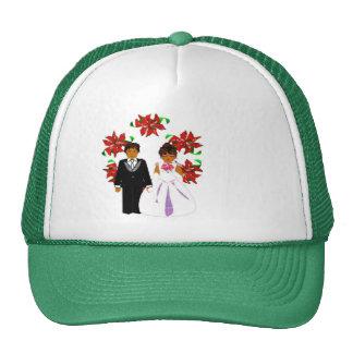 Christmas Wedding Couple In Green Round Wreath I Trucker Hat